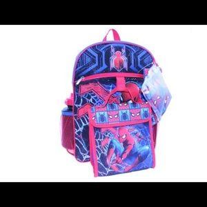 Kids marvel Spider-Man backpack set 5pc NWT